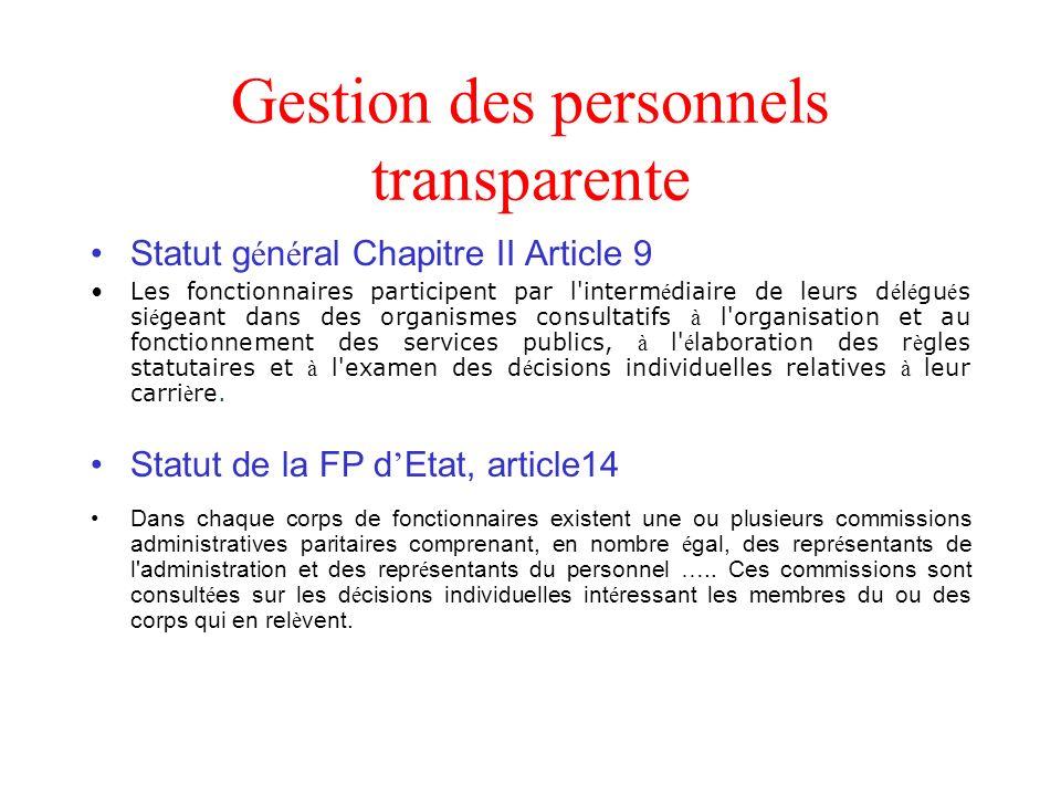 Gestion des personnels transparente