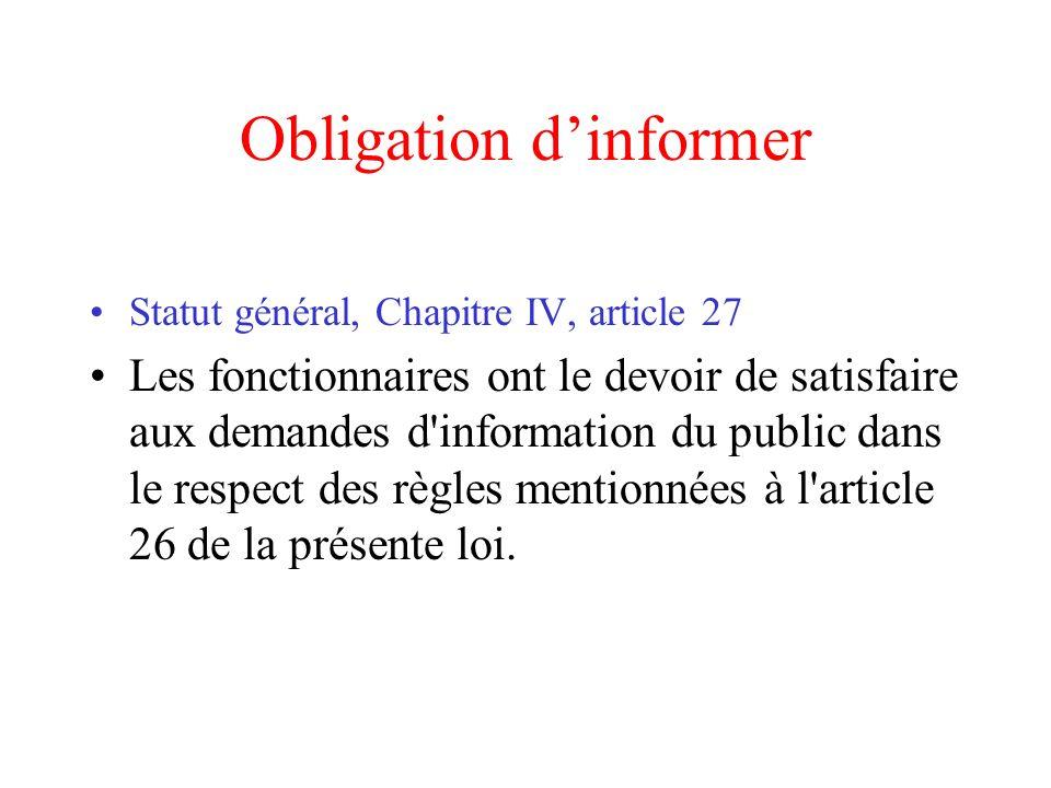 Obligation d'informer