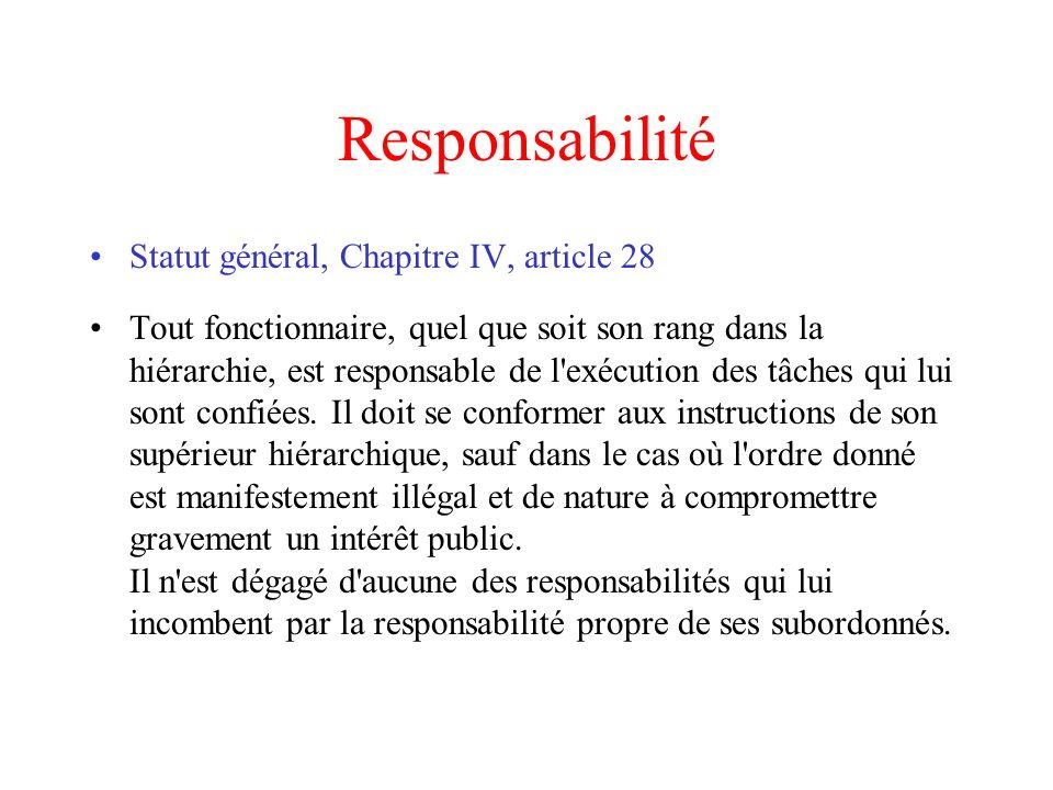Responsabilité Statut général, Chapitre IV, article 28