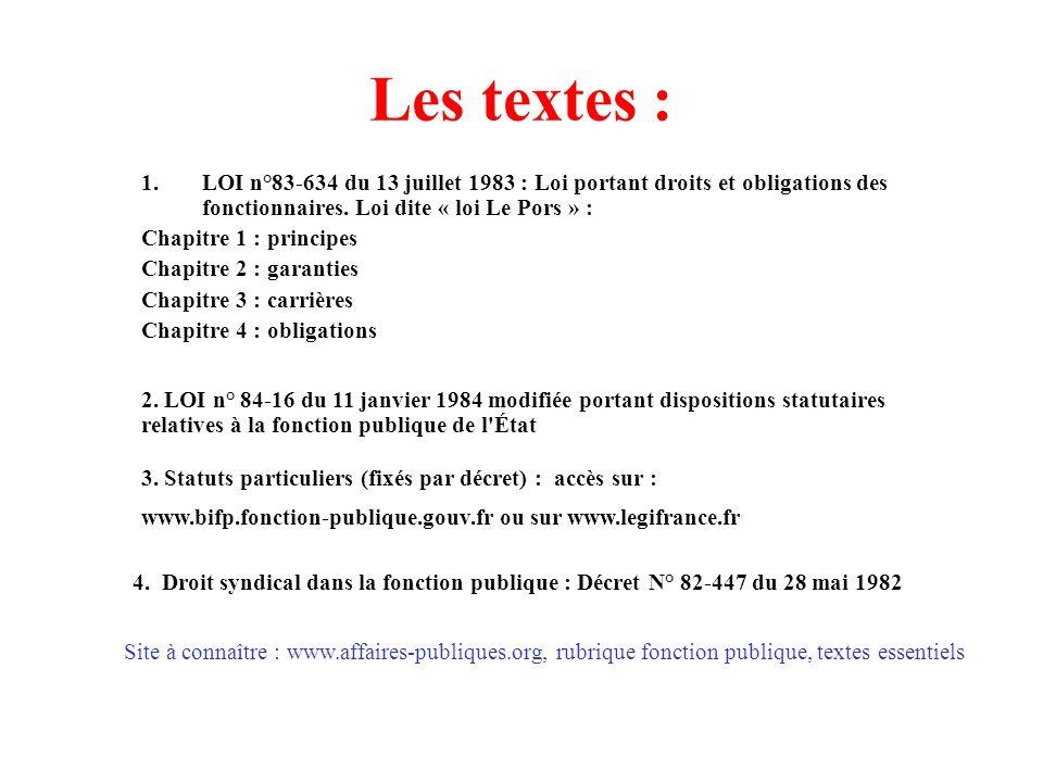 Les textes : LOI n°83-634 du 13 juillet 1983 : Loi portant droits et obligations des fonctionnaires. Loi dite « loi Le Pors » :