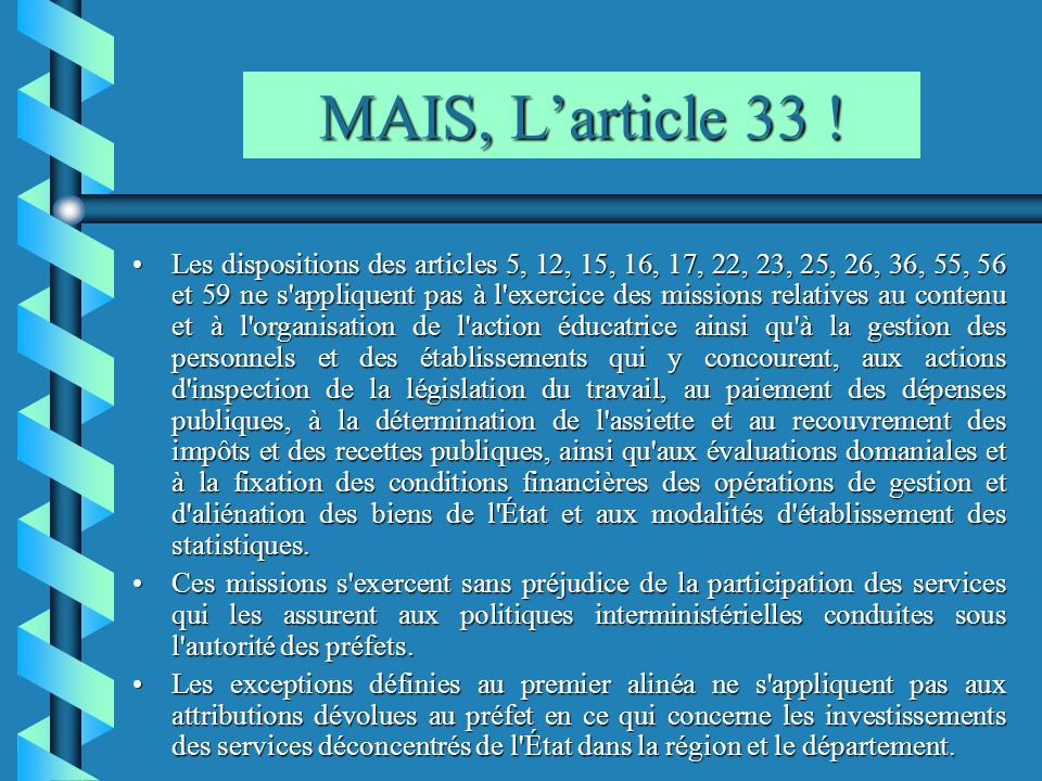 MAIS, L'article 33 !