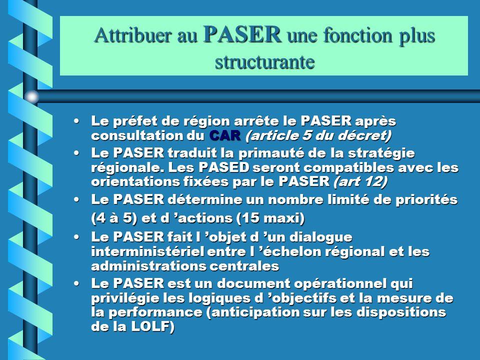Attribuer au PASER une fonction plus structurante