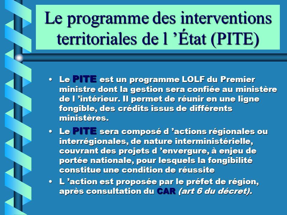Le programme des interventions territoriales de l 'État (PITE)