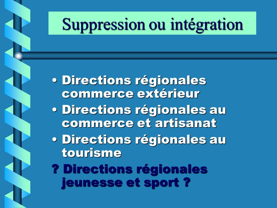 Suppression ou intégration