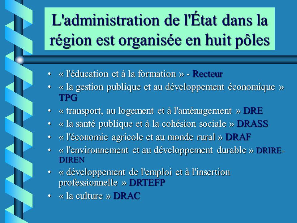 L administration de l État dans la région est organisée en huit pôles