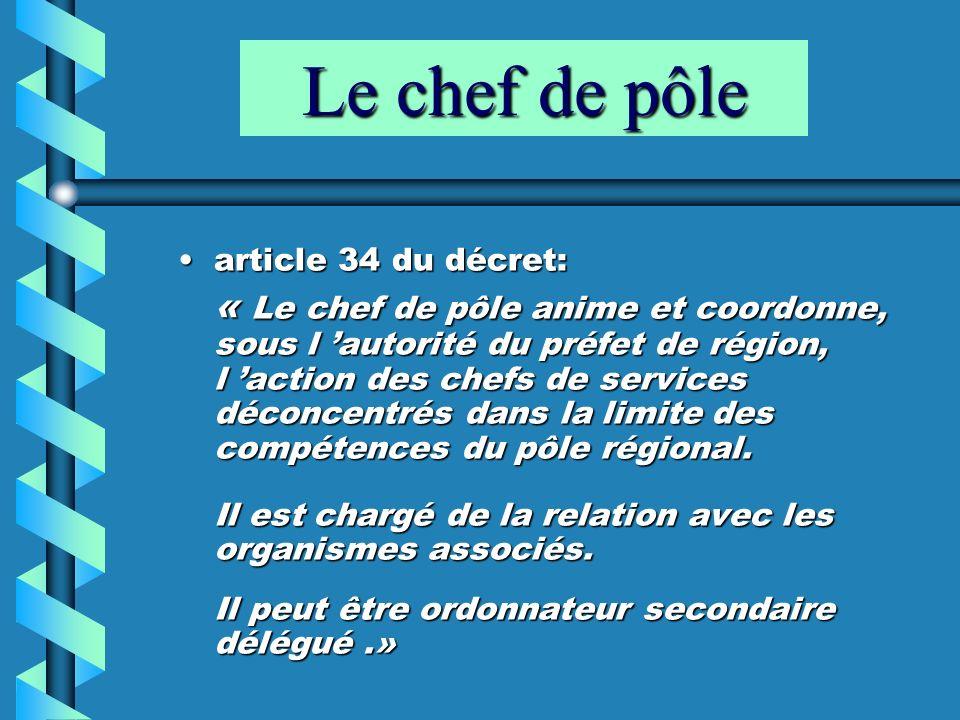 Le chef de pôle article 34 du décret: