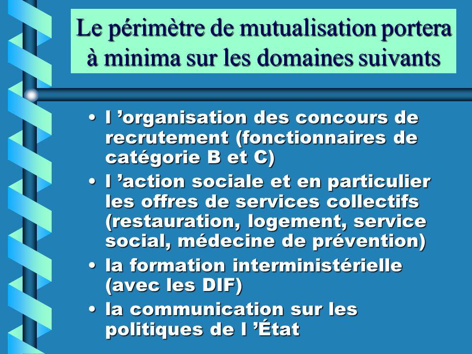 Le périmètre de mutualisation portera à minima sur les domaines suivants