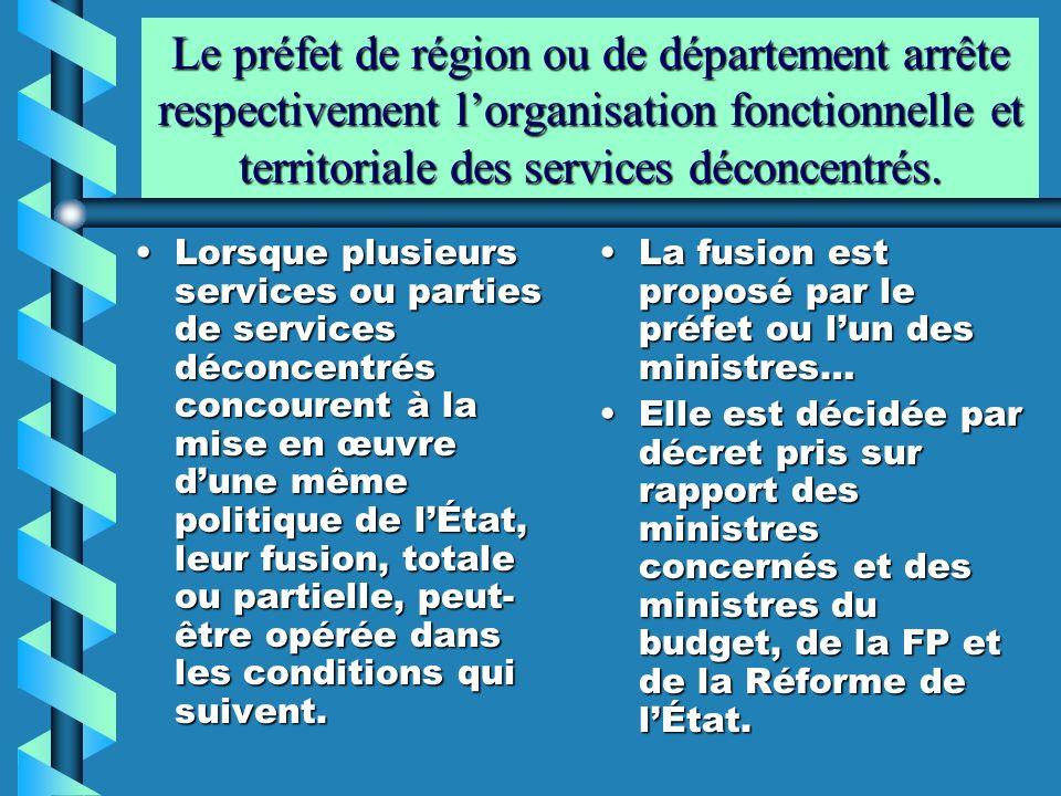 Le préfet de région ou de département arrête respectivement l'organisation fonctionnelle et territoriale des services déconcentrés.