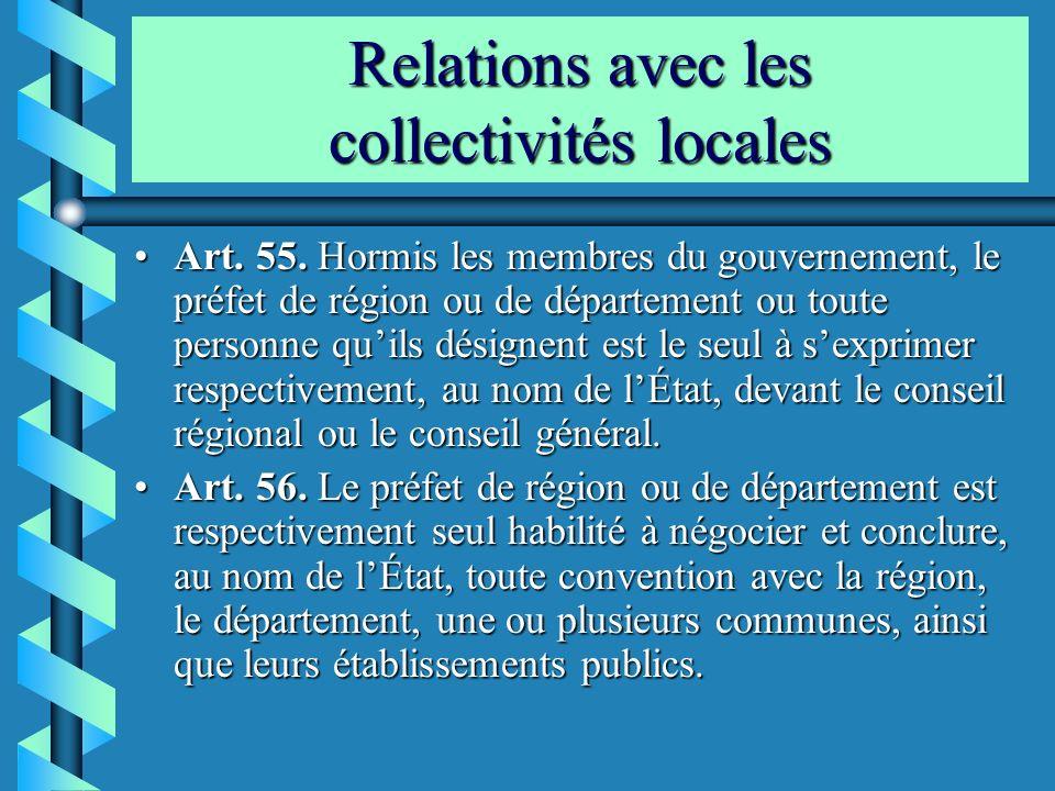 Relations avec les collectivités locales