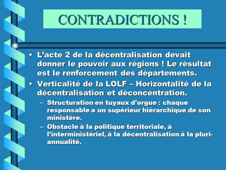 CONTRADICTIONS ! L'acte 2 de la décentralisation devait donner le pouvoir aux régions ! Le résultat est le renforcement des départements.