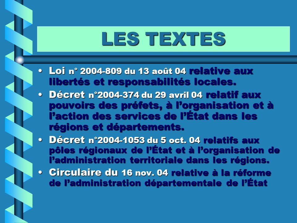 LES TEXTES Loi n° 2004-809 du 13 août 04 relative aux libertés et responsabilités locales.