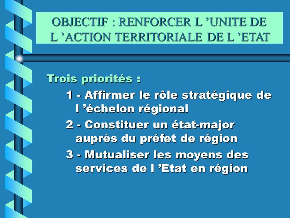 OBJECTIF : RENFORCER L 'UNITE DE L 'ACTION TERRITORIALE DE L 'ETAT
