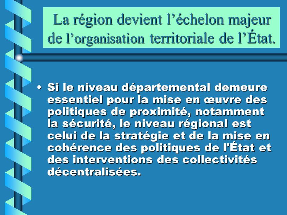La région devient l'échelon majeur de l'organisation territoriale de l'État.