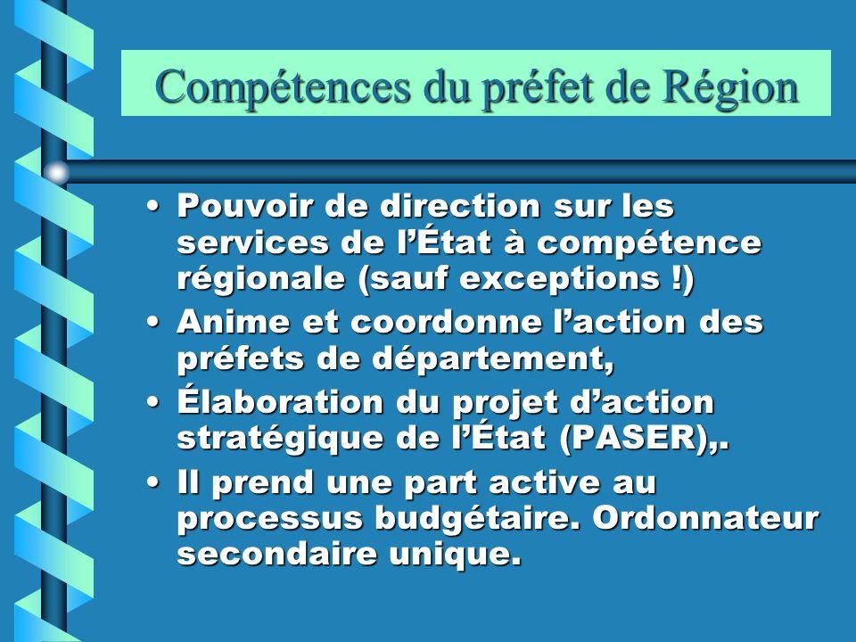 Compétences du préfet de Région