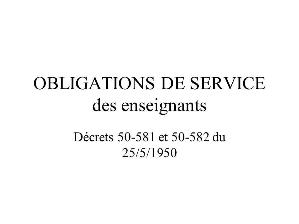 OBLIGATIONS DE SERVICE des enseignants