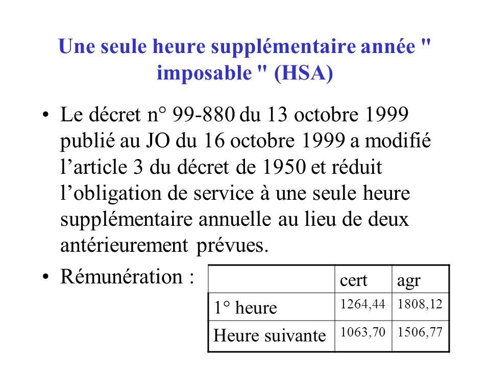 Une seule heure supplémentaire année imposable (HSA)