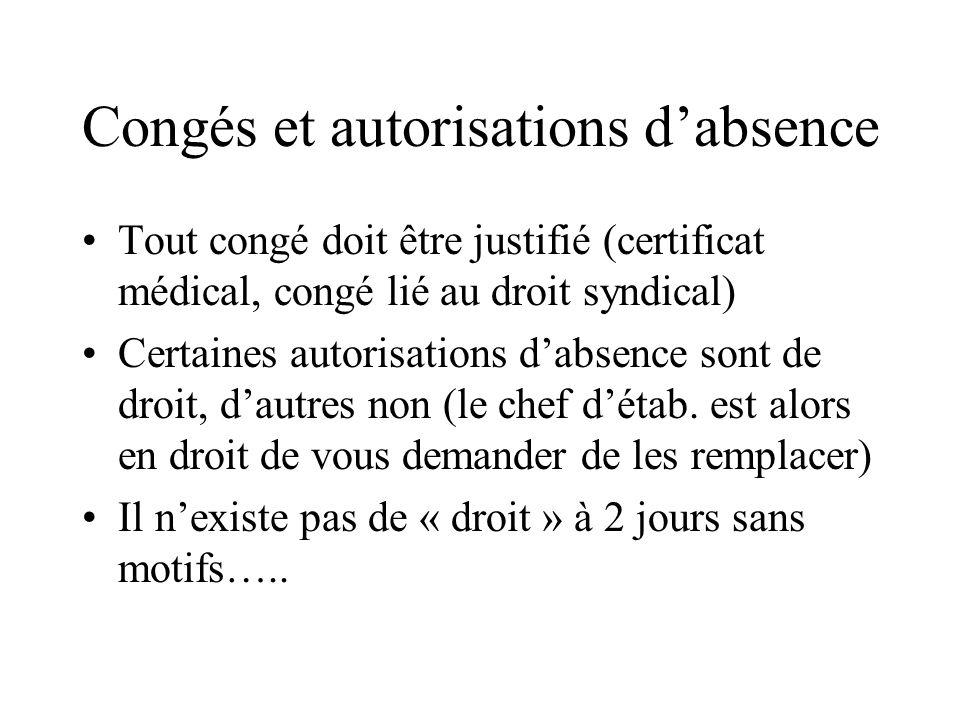 Congés et autorisations d'absence