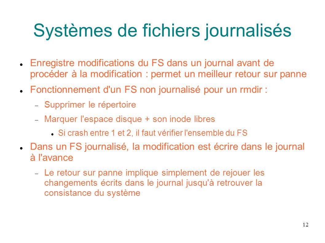Systèmes de fichiers journalisés