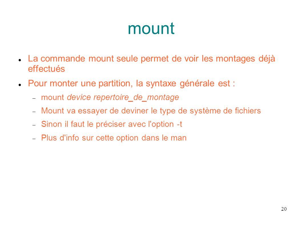 mount La commande mount seule permet de voir les montages déjà effectués. Pour monter une partition, la syntaxe générale est :