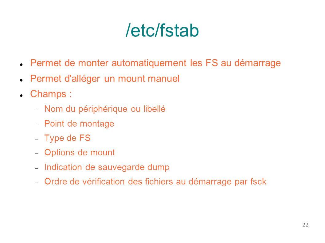 /etc/fstab Permet de monter automatiquement les FS au démarrage