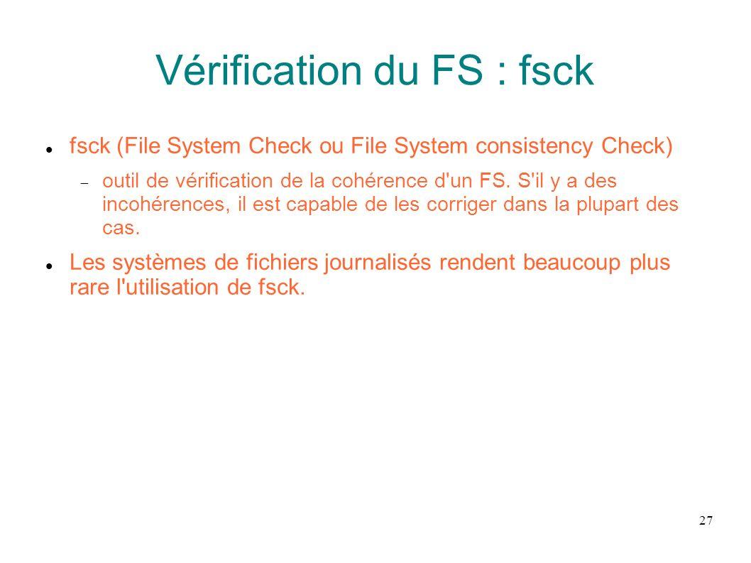 Vérification du FS : fsck
