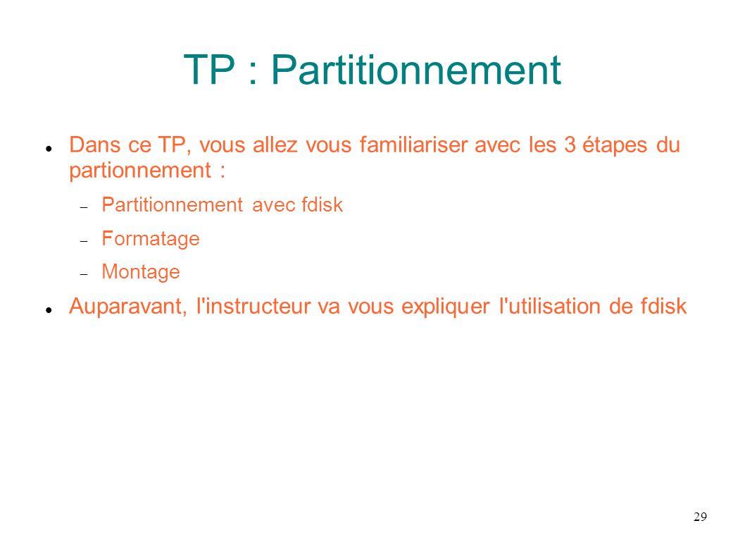TP : Partitionnement Dans ce TP, vous allez vous familiariser avec les 3 étapes du partionnement :