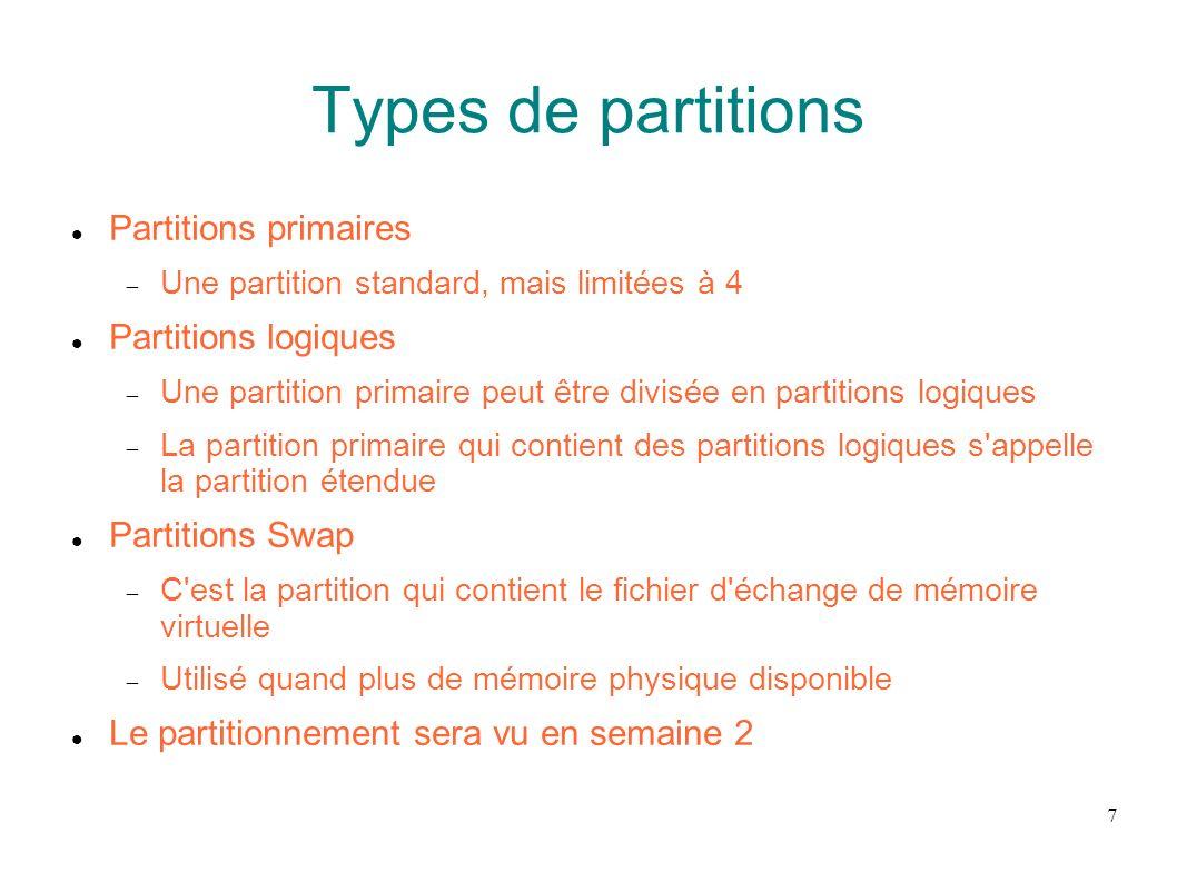 Types de partitions Partitions primaires Partitions logiques
