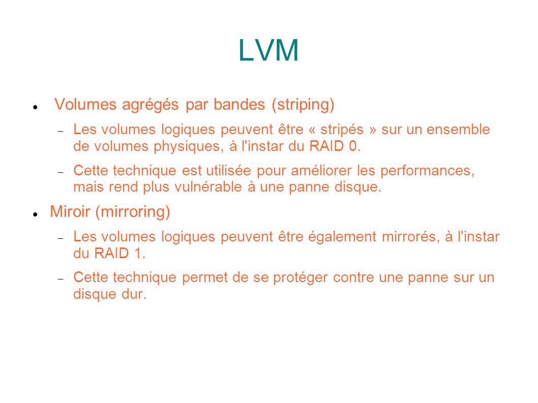 LVM Volumes agrégés par bandes (striping) Miroir (mirroring)