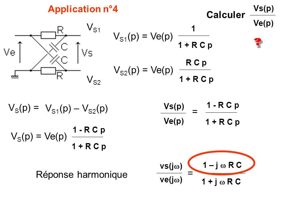 Application n°4 Calculer VS1 VS1(p) = Ve(p) VS2(p) = Ve(p) VS2 VS(p) =