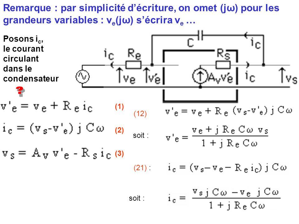 Remarque : par simplicité d'écriture, on omet (jω) pour les grandeurs variables : ve(jω) s'écrira ve …