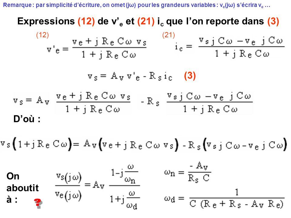 Expressions (12) de v'e et (21) ic que l'on reporte dans (3)