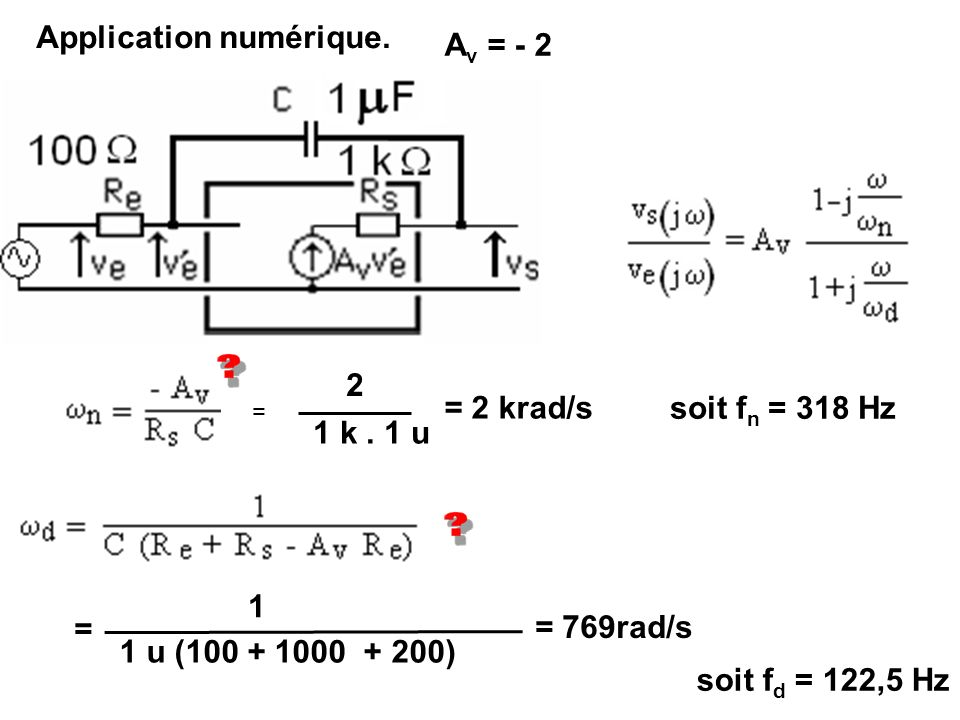 Application numérique. Av = - 2