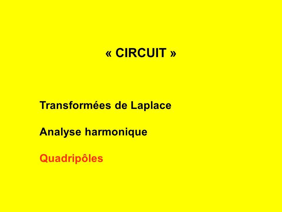 « CIRCUIT » Transformées de Laplace Analyse harmonique Quadripôles