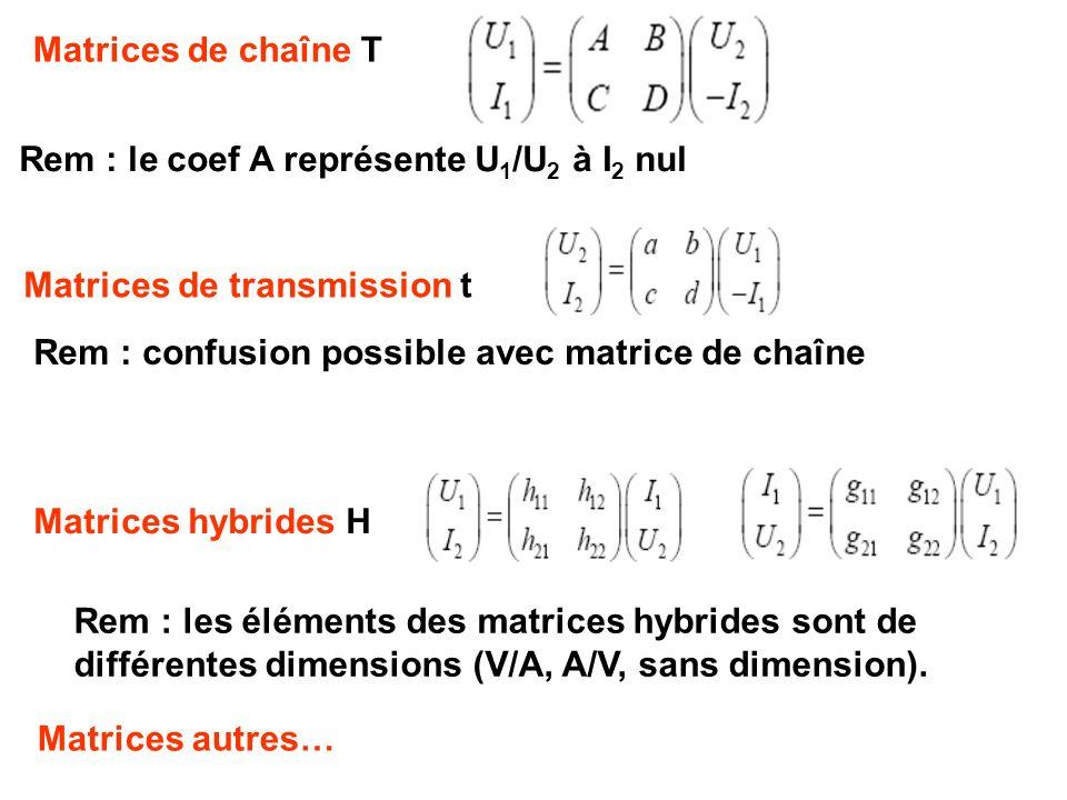 Matrices de chaîne T Rem : le coef A représente U1/U2 à I2 nul. Matrices de transmission t. Rem : confusion possible avec matrice de chaîne.