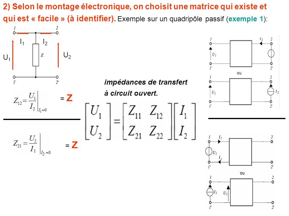 2) Selon le montage électronique, on choisit une matrice qui existe et