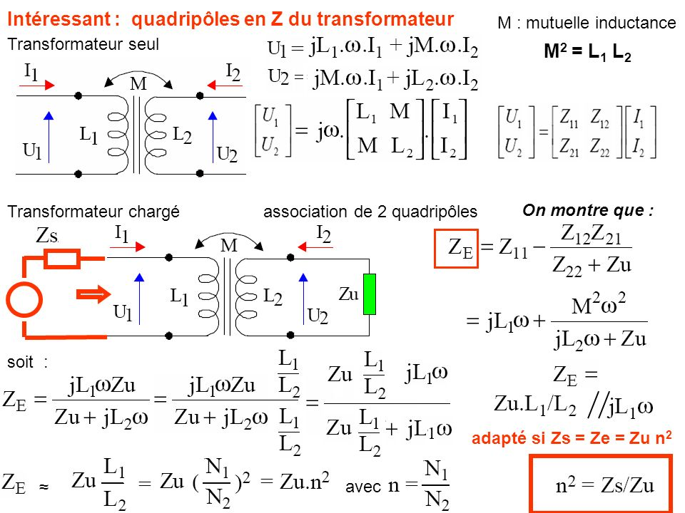 Intéressant : quadripôles en Z du transformateur