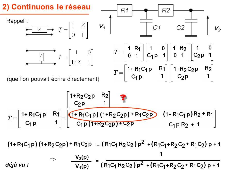 2) Continuons le réseau Rappel : (que l'on pouvait écrire directement)