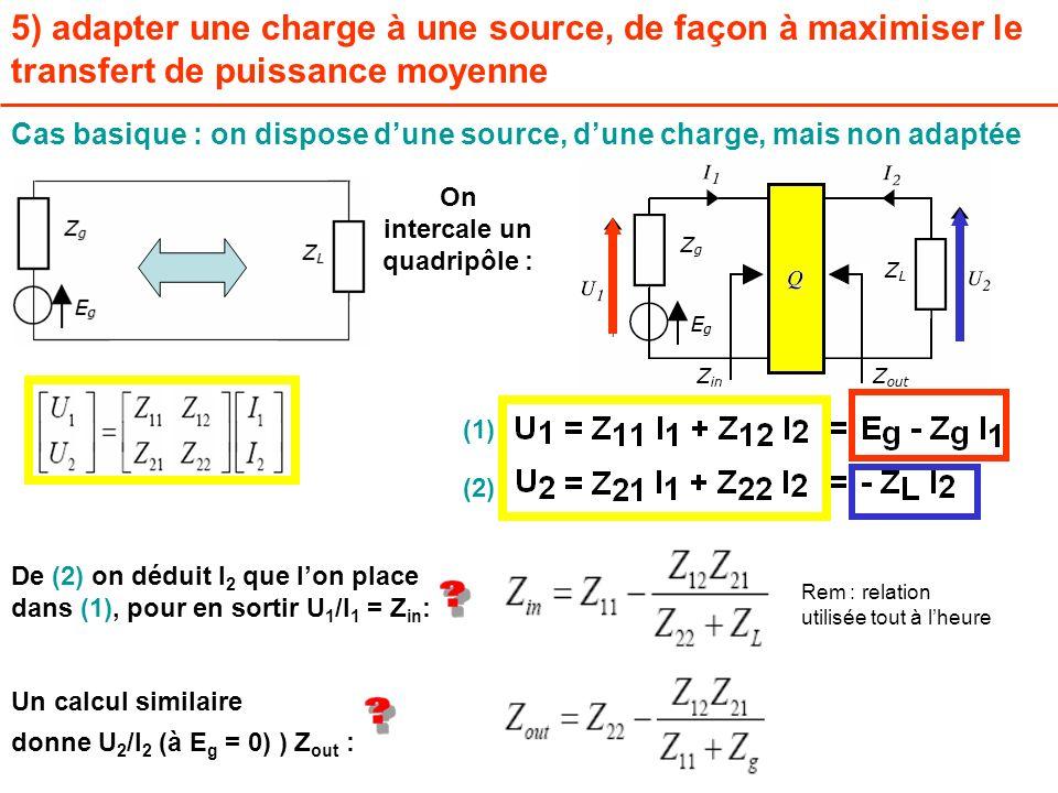 5) adapter une charge à une source, de façon à maximiser le transfert de puissance moyenne