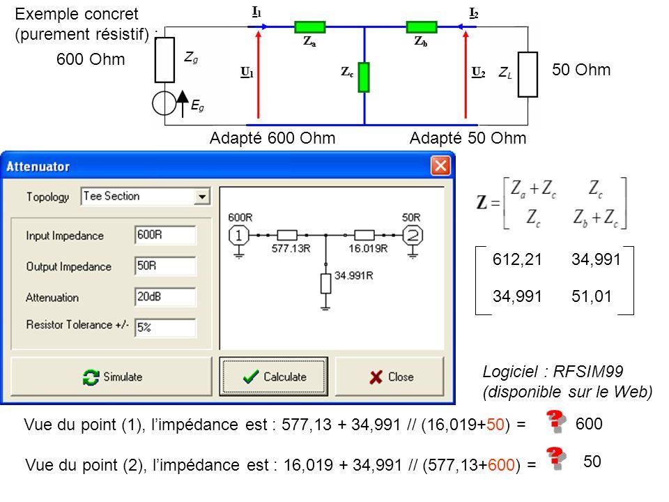 Exemple concret (purement résistif) : 600 Ohm. 50 Ohm. Adapté 600 Ohm. Adapté 50 Ohm. 612,21. 34,991.