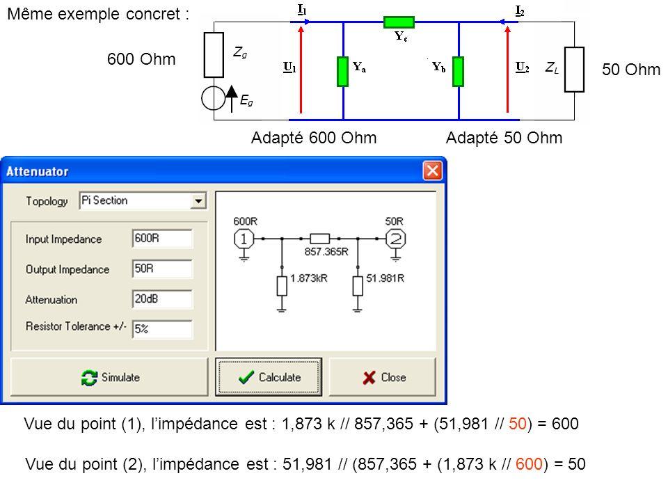 Même exemple concret :600 Ohm. 50 Ohm. Adapté 600 Ohm. Adapté 50 Ohm. Vue du point (1), l'impédance est : 1,873 k // 857,365 + (51,981 // 50) = 600.