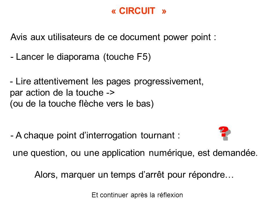 Avis aux utilisateurs de ce document power point :