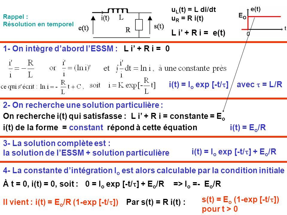 1- On intègre d'abord l'ESSM : L i' + R i = 0