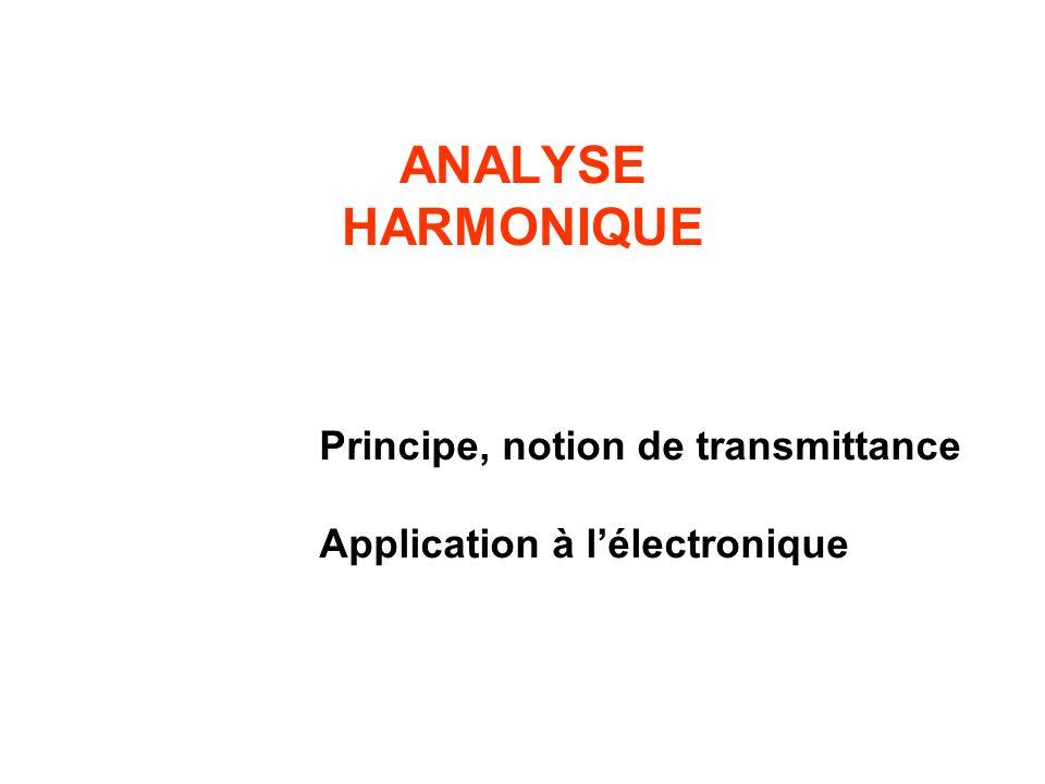 ANALYSE HARMONIQUE Principe, notion de transmittance