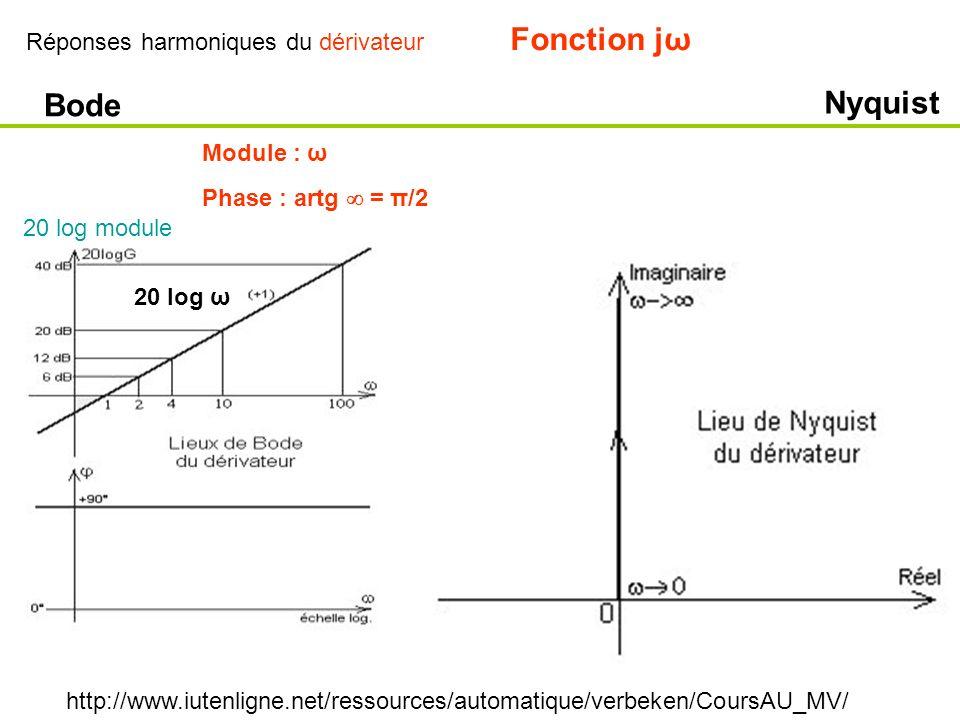 Fonction jω Bode Nyquist Réponses harmoniques du dérivateur Module : ω