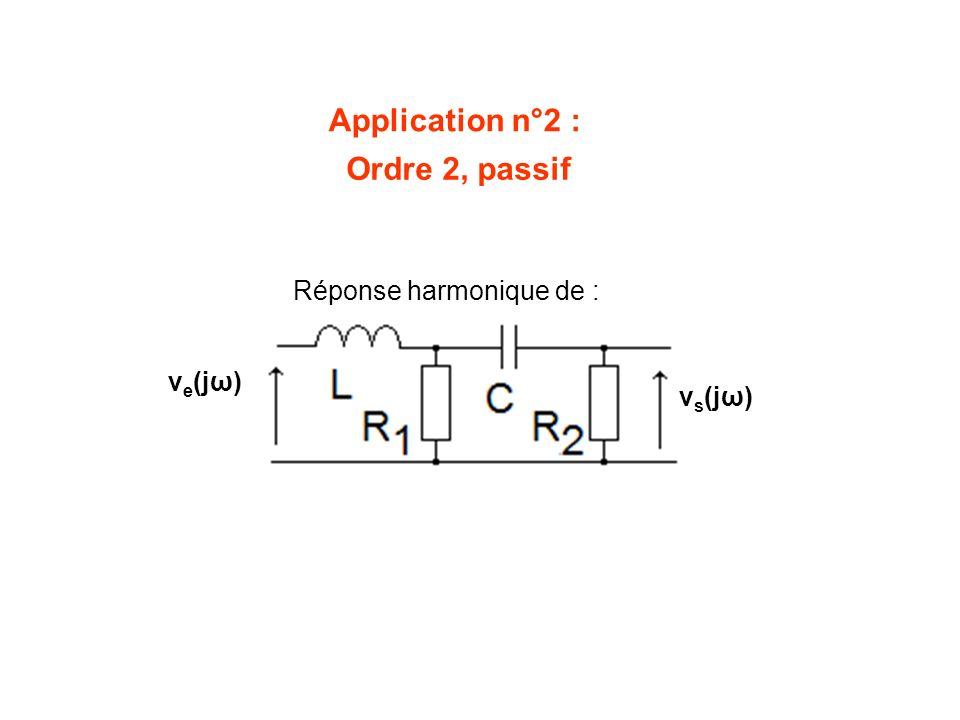 Application n°2 : Ordre 2, passif Réponse harmonique de : ve(jω)