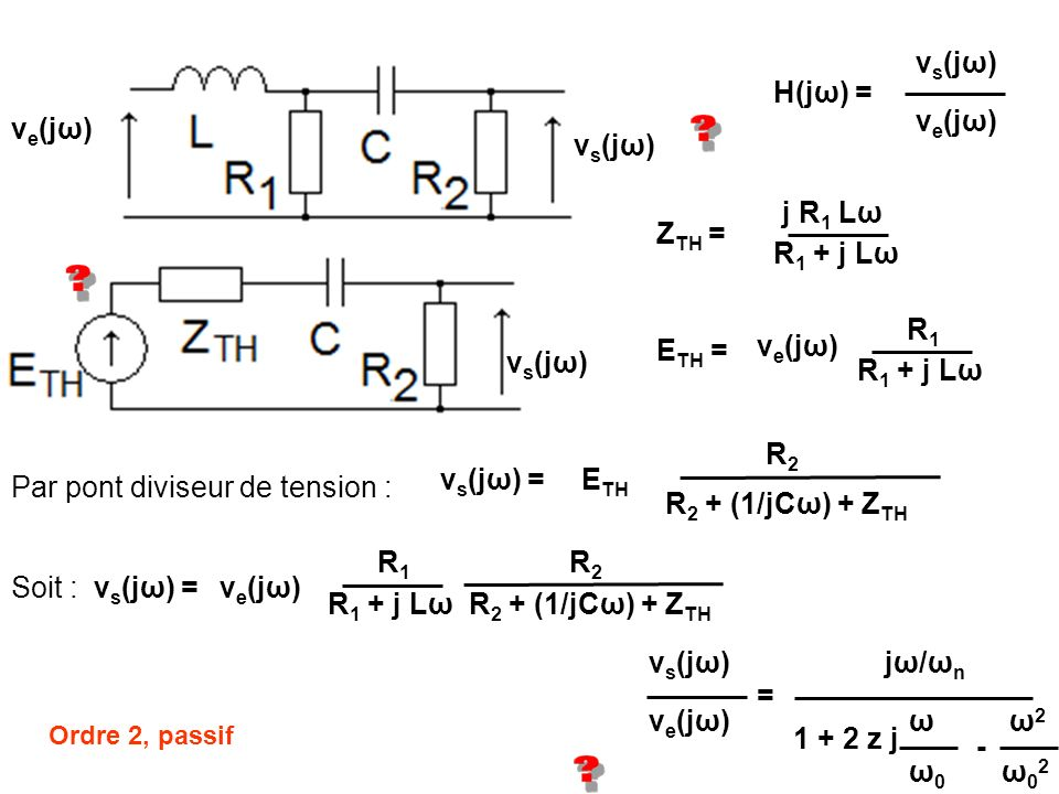 Par pont diviseur de tension : R2 + (1/jCω) + ZTH