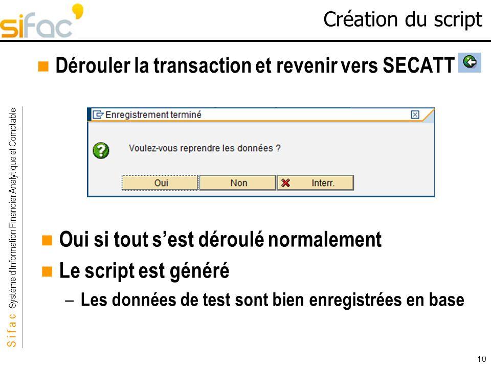 Dérouler la transaction et revenir vers SECATT