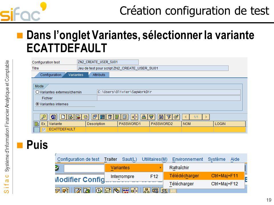 Création configuration de test