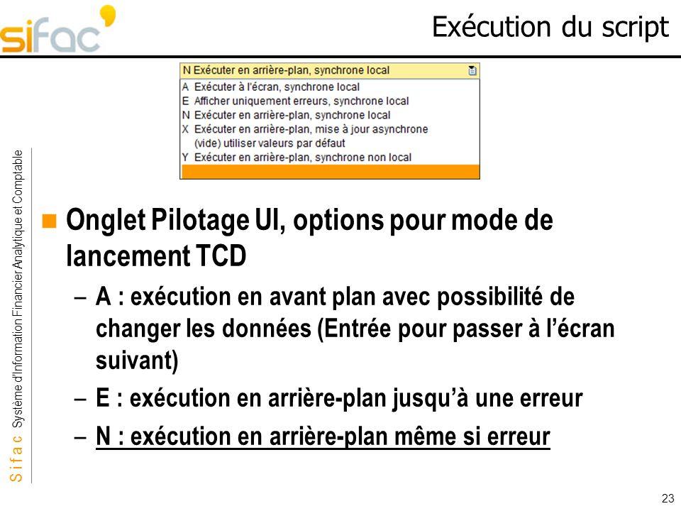 Onglet Pilotage UI, options pour mode de lancement TCD
