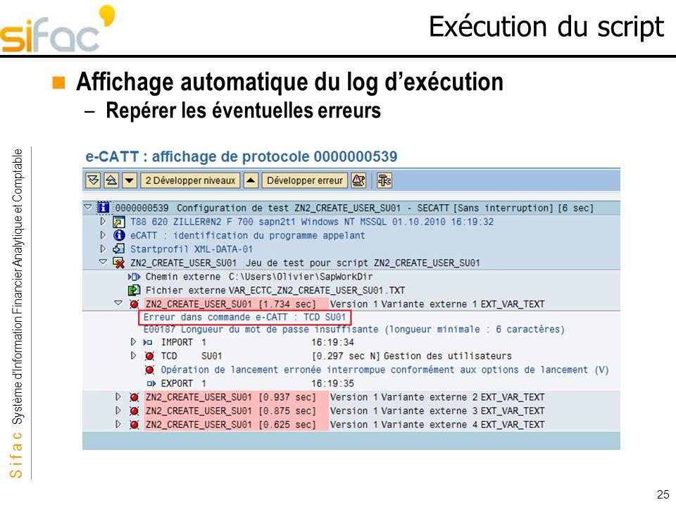 Exécution du script Affichage automatique du log d'exécution